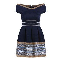 SheIn(sheinside) Navy Off the Shoulder V Neck Bandage Dress ($29) ❤ liked on Polyvore