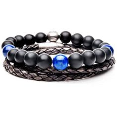Hailstone Mens Bracelet Stack Leather And Beaded Mens Bracelets Black Leather Bracelet, Black Bracelets, Bracelets For Men, Beaded Bracelets, Black Stainless Steel, Stainless Steel Bracelet, Skull Bracelet, Beaded Skull, Black Rings