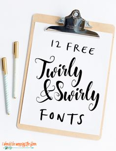 These 12 Free Twirly Fonts are simply lovely. Theyre perfect for wedding correspondence, invitations, crafts, vinyl, and more. Sign Fonts, Cursive Fonts, Handwriting Fonts, Cricut Tutorials, Cricut Ideas, Cute Fonts, Fancy Fonts, Vintage Typography, Vintage Fonts