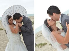 Parasols are perfect at a beach wedding...so is a kiss for the newlyweds!