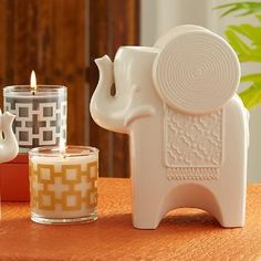 Safari Chic Set-Get glam Adler style and scent in one clever set! Ceramic Elephant Candle Holder comes with the Safari Chic Scented Mini Jar Candle Pair for a great gift. www.partylite.biz/alvita