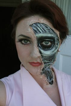 Leyla Mitchell Cyborg Makeup (liquid latex, face paint, string, spray paint, spirit gum) 2012