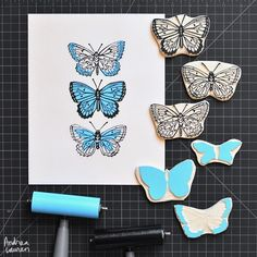 Andrea Lauren (@inkprintrepeat) | It has been a busy week but always great to make time for carving and printing! Here are my two-color butterflies in blue. | Intagme - The Best Instagram Widget
