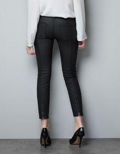 BLACK COATED BIKER TROUSERS - Trousers - Woman - ZARA United States