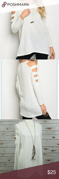 """NEW Cut Out Long Sleeve Cold Shoulder Top •New with tags, long sleeve top with cut out cold shoulder design.  •Material: 95% Polyester, 5% Spandex. •Brand: loveriche (boutique). •Size: Medium. •Measurements: When laying flat, length: 29.5"""", bust 1way: 20.5"""", room for stretch. Sleeve length: 26"""". •No damage or defects. •Comes from a smoke free home. •Final price unless bundled. •Bundle discount: 10% off 2 or more listings. •No trades. •No holds. •Always available for any questions. loveriche…"""