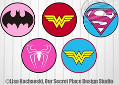 "4"" Girl Superhero Logo Stickers Superhero Girl Symbols Superhero Girl Stickers Superheroes Logos Superhero Baby Shower Superhero party decor by OurSecretPlace on Etsy https://www.etsy.com/listing/229288844/4-girl-superhero-logo-stickers-superhero"