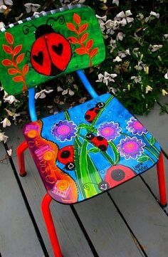 Chairs Makeover Videos Woven - Funky Painted Chairs Ideas - Swivel Chairs With Ottoman - Dining Chairs Makeover - Art Furniture, Funky Furniture, Colorful Furniture, Upcycled Furniture, Furniture Makeover, Chair Makeover, Victorian Furniture, Primitive Furniture, Modular Furniture