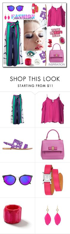 """""""You are my heart's desire!"""" by zabead ❤ liked on Polyvore featuring Tanya Taylor, Nicole Miller, Zariin, Pollini, Salvatore Ferragamo, RetroSuperFuture, Rossetto, Hermès and Topshop"""