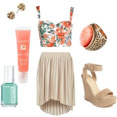 outfit: white / green / coral flowery corset cropped singlet, assymmetrical knee-length nude pleated skirt, open-toed open strappy nude velvet platform wedges, gold twisted studs, gold / coral circular stone ring, coral lipgloss, turquoise nailpolish