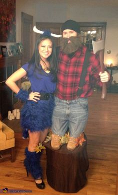 Midget Paul Bunyan and Babe the Blue Ox - 2013 Halloween Costume Contest via @costumeworks