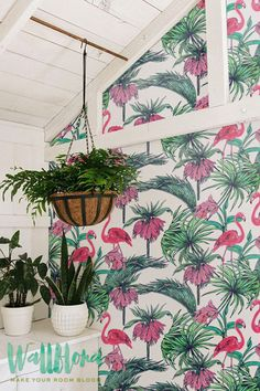 Tropical Pattern Wallpaper | Exotic Removable Wallpaper | Palm leaves Wallpaper | Flamingo Wall Sticker | Tropical Palm Self Adhesive Wallpaper