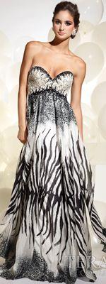 gamesinfomation.com Terani – Black & White Roar Of The Jungle Zebra Strapless Gown coupon| gamesinfomation.com