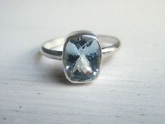 Sterling Silver Cushion Cut Aquamarine Ring Your by EmeraldPixie, $98.00
