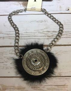 New DaVinci Big BOLD Silver tone Disc Fur Statement Necklace #DiVinci