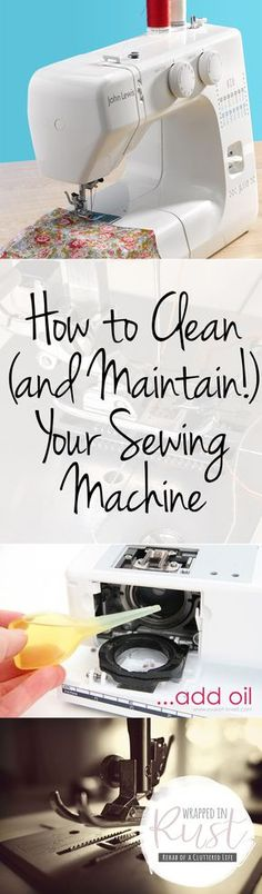 How to clean and care for your sewing machine. These are great sewing machine maintenance tips!