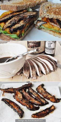 Mushroom Bacon – Vegan Bacon Delicious Vegan BLT (the B is some smoky maple portobello bacon!)Delicious Vegan BLT (the B is some smoky maple portobello bacon! Veggie Recipes, Whole Food Recipes, Vegetarian Recipes, Cooking Recipes, Healthy Recipes, Vegan Sandwich Recipes, Bacon Recipes, Vegan Sandwiches, Vegan Gyros Recipe