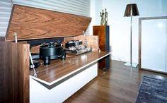 Bespoke AV cabinet gloss white & walnut contemporary furniture