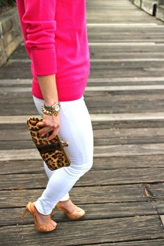 leopard clutch + white pants + hot pink sweater.