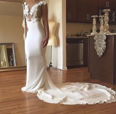 Long White Mermaid Prom Dresses 2018 Appliques Evening
