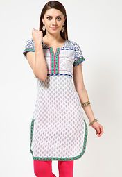Anahi offers a white coloured kurta for women. Made of cambric, this regular-fit, printed kurta has knee length, short sleeves and a round neck with a slit.