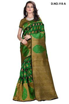Green Colour Cotton Silk Party Wear Printed Saree Buy Sarees