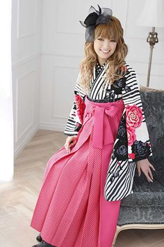 kimonokoubou, this is cute: pink and black white stripe