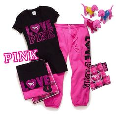 How,come when I go to vs,I can't ever decide what to buy I love it all but when I leave i m always thinking dam I shouldn't got the other thing Lazy Day Outfits, Cute Outfits For School, Pink Outfits, Hot Outfits, Victoria Secret Outfits, Victoria Secret Pink, Pink Wardrobe, Pink Love, Vs Pink