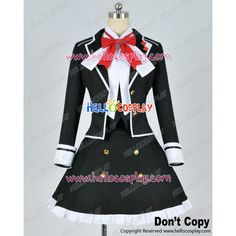 Diabolik Lovers Cosplay Yui Komori Black Uniform Costume Cotton Ver ❤ liked on Polyvore featuring costumes, cosplay costumes, role play costumes and cosplay halloween costumes