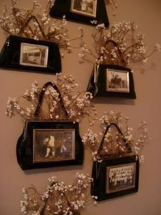 Purse Collage: Glue picture frames to old purses and insert dried flowers to make a unique wall display