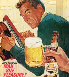 rogerwilkerson:  Got a Thirst For Man Size Pleasure? Detail from 1964 Falstaff Beer ad.