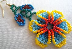 Your place to buy and sell all things handmade Flower Earrings, Beaded Earrings, Etsy Earrings, Beaded Bracelets, Beading Projects, Beading Ideas, Beaded Flowers, Bead Art, Seed Beads