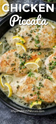 We just love this Chicken Piccata recipe! Tender chicken breasts are dredged in a lemon pepper flour and seared until golden. The chicken is then simmered in a fresh lemon caper white wine sauce. #spendwithpennies #chickenpiccata #easyrecipe #easydinner #maincourse #chicken #lemonsauce #creamychickenpiccata