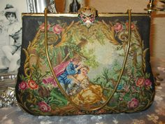STUNNING Figural Micro Petit Point Purse with Enamel Frame & Clasp. $165.00, via Etsy.