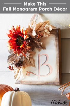 Welcome fall with a lovely floral monogram canvas wreath.This non-traditional door décor is simple to make using acrylic paint on canvas. Select floral picks and stems that match your home and you'll have one trendy décor piece. Find everything you need to make this project at your local Michaels!