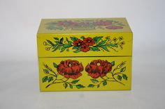 Syndicate MFG CO. Yellow Metal Tin Recipe Box With Flowers