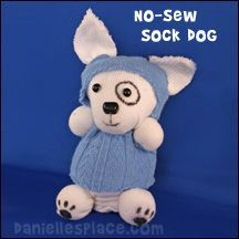 No-sew Sock Dog Craft from www.daniellesplace.com and instructions for many more animals and babies.