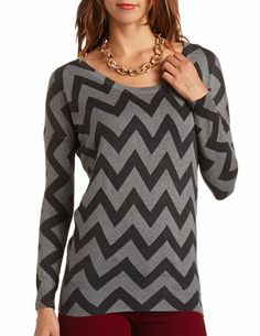 Chevron Stripe Dolman Sweater Tunic: Charlotte Russe