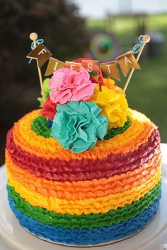 Multi-coloured Mexican Fiesta Birthday Cake. Love those coloured layers. Featured on Party Wagon