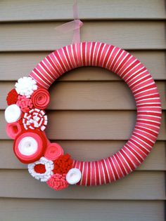 Valentine's  Day Wreath  PInk Red & White Yarn by stringnthings, $42.00