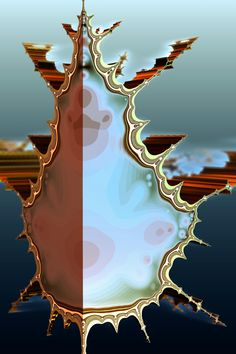 In multicomplex dynamics, the Tetrabrot is a 3D generalization of the Mandelbrot set. Discovered in 2000 (Fractals, 8(4):355-368), it can be interpreted as one of the eight principal 3D slices of the tricomplex Mandelbrot set. #fractalart, #tetrabrot, #fractals, #mandelbrot, #3dmandelbrot, #bicomplex, #tricomplex, #mb3d Fractal Art, Fractals, Rendering Software, Color Tattoo, Abstract Art, Digital Art, Science, 3d, Pictures