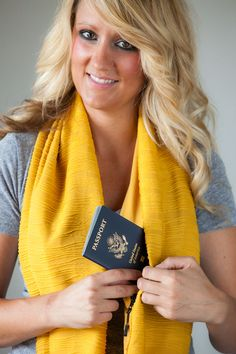 The Yellow Basic SHOLDIT,  scarf with a hidden pocket, the perfect travel accessory, can hold all your valuables safely and securely leaving your hands free, and your purse at home.