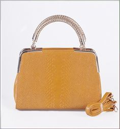 Sassy Snake Embossing Golden Weave Handle Tote Bag Yellow on BuyTrends.com, only price $18.75