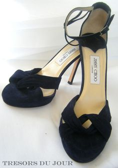 Jimmy Choo Designer Navy Suede Open Toe High-Heeled Shoes Size 9 New  #NavyEveningShoes #NavySuedeEveningShoes
