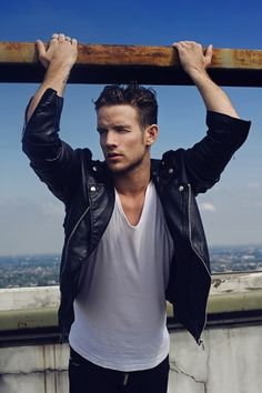Aurelien Febvay by Wong Sim...classic casual menswear look...black leather biker jacket and white tee.