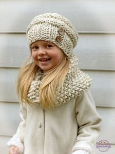 Hand Knit Toddler Kids Slouchy Hat and Cowl Scarf Set in Neutral Wheat, Toddler Girls Boys Knitted Slouch Beanie and Infinity Scarf Set Hand zu stricken Kleinkind Kids Slouchy Hut und Kappe Schal Knitting For Kids, Baby Knitting Patterns, Loom Knitting, Knitting Projects, Crochet Projects, Hand Knitting, Crochet Patterns, Crochet Ideas, Knitting Stitches