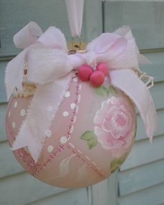 Christmas Ornament Hand Painted Pink Rose by paintedquilts on Etsy