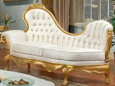 Gold and White Victorian Sofa