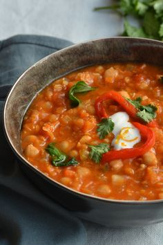 A spicy, Moroccan soup with lentils, chickpeas and lots of fresh veg: this vegetarian harira is just so good you'll want to eat it every season of the year.