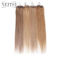 Neitsi髪マイクロループリング人間の毛ストレートエクステンション100%インドのremy毛aaaグレードリンクヘアピース黒ブロンド14色