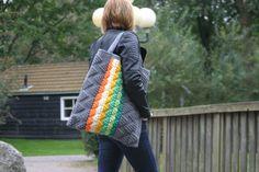 crochet handbag, grey, multicoloured bag, geometry bag, triangles, large bag, shoulder bag, tote bag, vilka, hobo bag, hippie bag, urban bag - pinned by pin4etsy.com